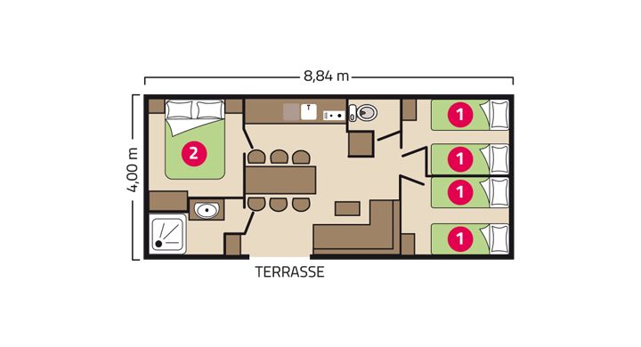 Plan Mobil-home Confort Camping Le Boudigau