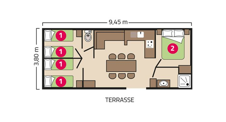 Plan Mobil home Confort Camping Le Petit Rocher