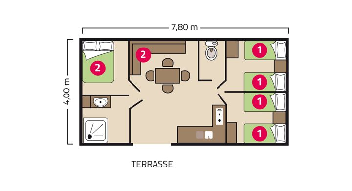 Plan Mobil home Famille Camping Bel Air