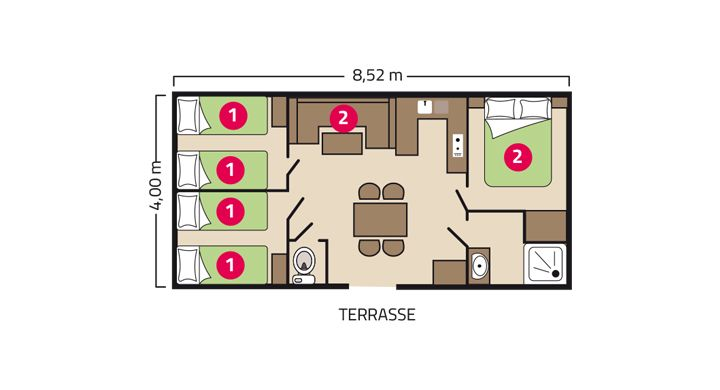 Plan Mobil-home Famille Camping Le Boudigau