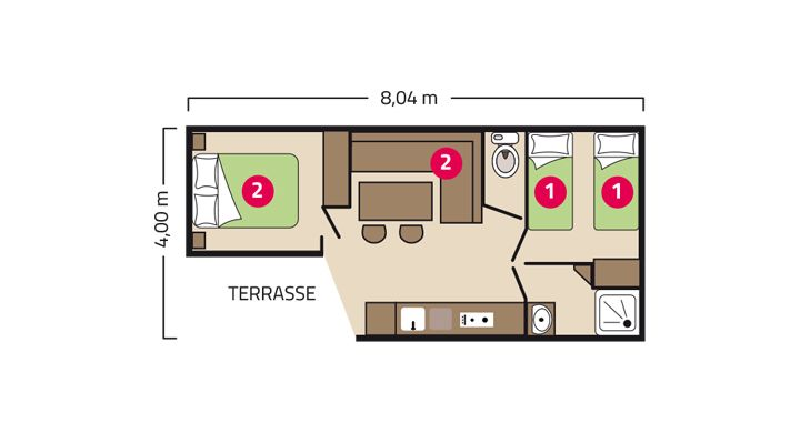 Plan Mobil-home Loggia Camping Le Boudigau