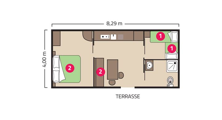 Plan Mobil-home PMR Camping Le Boudigau