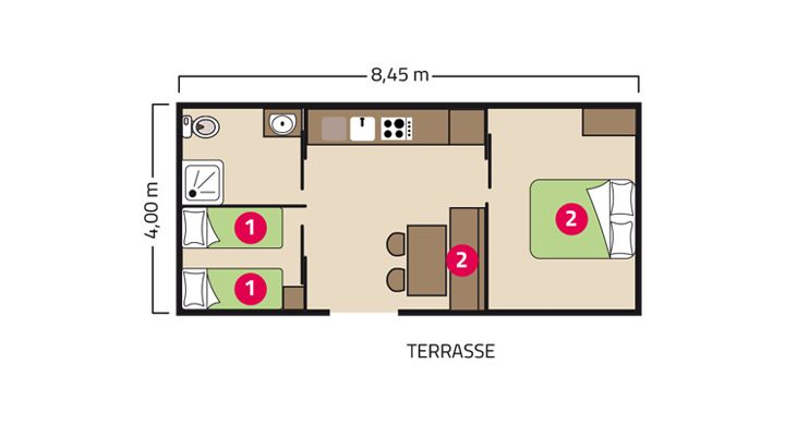 Plan mobil-home PMR camping Le Village Parisien