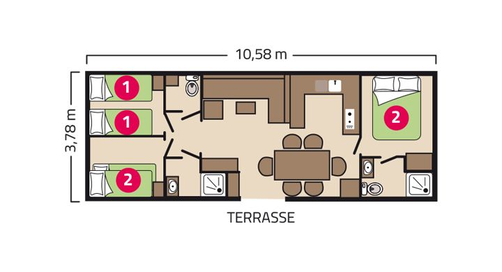 Plan mobil-home Premium Suite Duo camping Les Peupliers