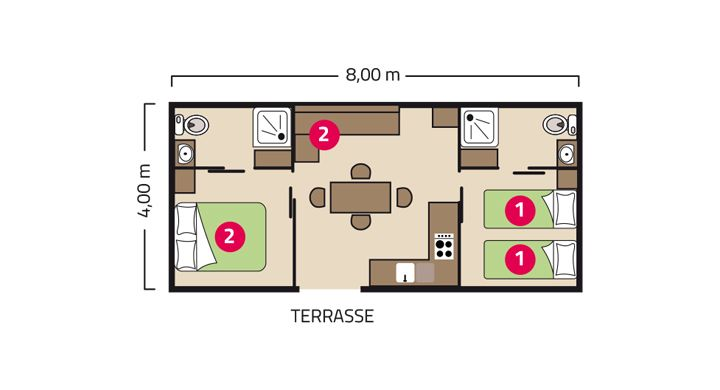 Plan mobil-home Premium Suite Duo camping Le Village Parisien