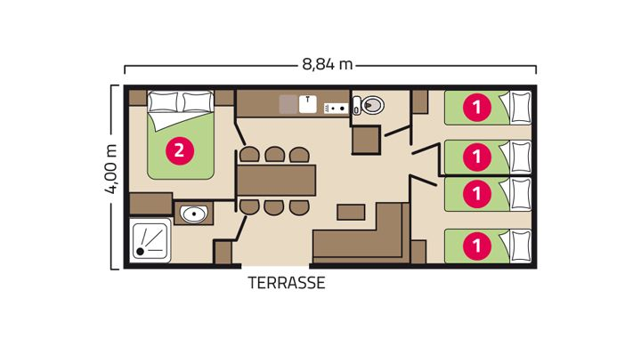 Plan Mobil home Premium Trio Camping Bel Air